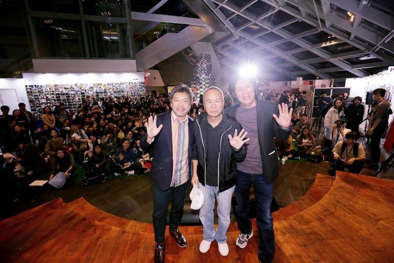 对谈现场(从左到右):是枝裕和、侯孝贤和李沧东