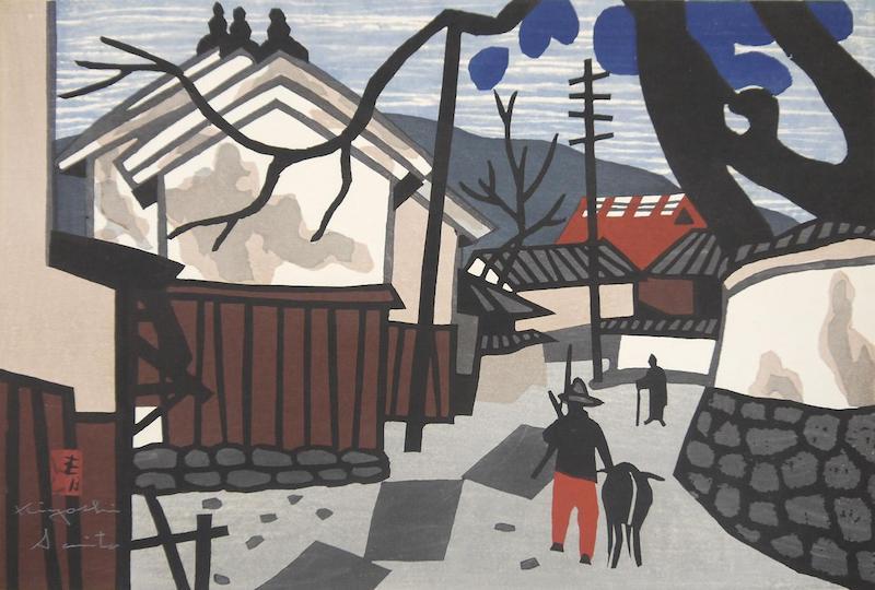 齐藤清版画之一,可以对比电影中的小镇景色|图片来自网络