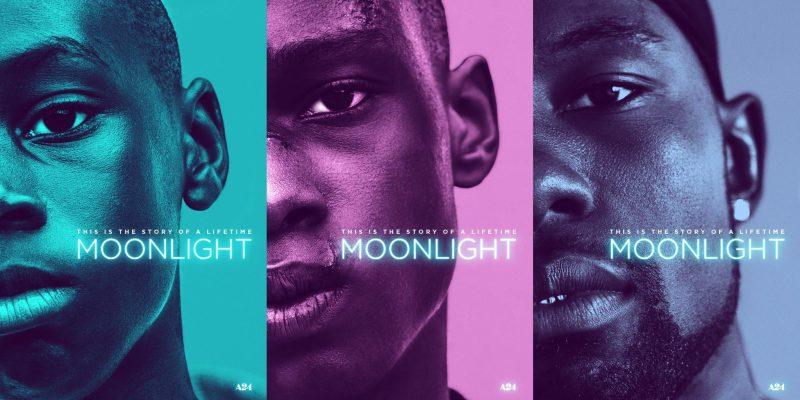 《月光男孩》海报;从左至右依次是童年的利特尔,青春期的奇伦和成年后的布莱克
